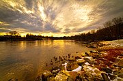 Sunrise Prints - The Androscoggin River between Lewiston and Auburn Print by Bob Orsillo
