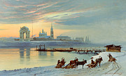 Snow Horses Framed Prints - The Angara Embankment in Irkutsk Framed Print by Nikolai Florianovich Dobrovolsky