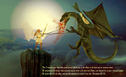 Kelly Digital Art Posters - The Angel and the Dragon Poster by Valerie Anne Kelly