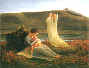 The Mother Digital Art Prints - The Angel and the Mother Print by Anne Francois Janmot