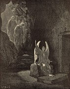 Bible Drawings Metal Prints - The Angel at the Sepulchre Metal Print by Antique Engravings