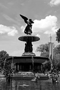 Christiane Schulze Digital Art Posters - The Angel Of Waters BW - Central Park  NYC Poster by Christiane Schulze