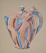 Humorous Greeting Cards Originals - The Angel Pot by Philip Ross Munro