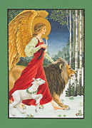 Lion Lamb Posters - The Angel The Lion and The Lamb Poster by Lynn Bywaters