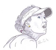 Steven White Drawings - The Angelic Caroline Wozniacki by Steven White