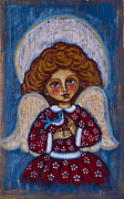 Baptism Gift Posters - The angelic girl with a bird Poster by Iwona Fafara-Pilch