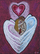 Angel Art Pastels Prints - The Angels Kiss Print by Diana Haronis