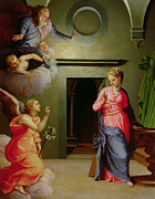 Annunciation Painting Prints - The Annunciation Print by Agnolo Bronzino