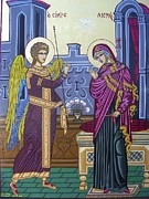Byzantine Icon Prints - The Annunciation Print by Athanasios Skouras
