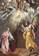 Blessed Virgin Mary Framed Prints - The Annunciation Framed Print by El Greco Domenico Theotocopuli