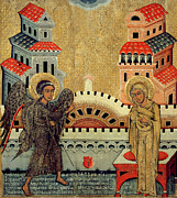 Byzantine Painting Prints - The Annunciation Print by Fedusko of Sambor