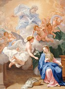 Angel Gabriel Prints - The Annunciation Print by Giovanni Odazzi