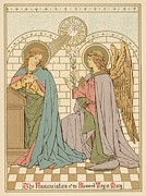 Red Robe Drawings Posters - The Annunciation of the Blessed Virgin Mary Poster by English School