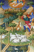 Shepherds Posters - The Annunciation to the Shepherds Poster by Boucicaut Master