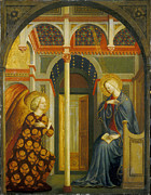 Virgin Mary Framed Prints - The Annunciation Framed Print by Tommaso Masolino da Panicale