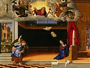 Annunciation Paintings - The Annunnciation by Girolamo da Santacroce