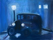 Night Scene Pastel Prints - The antique car rally turns sinister Print by Robert Cook