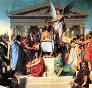 Greek Columns Digital Art - The Apotheosis of Homer by Jean Auguste Dominique Ingres
