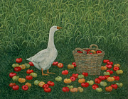 Goose Painting Framed Prints - The Apple Basket Framed Print by Ditz