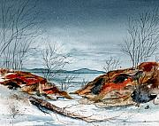 Snowscape Painting Posters - The Approaching Evening Poster by Brenda Owen
