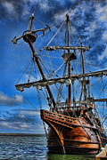 Wooden Ship Posters - The Approaching Storm - Spanish Galleon Poster by Lee Dos Santos