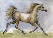 Mare Drawings - The Arabian Mare Running by Angel  Tarantella