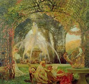 Flowers And Women Prints - The Arbor Print by Gaston De la Touche