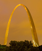 St Photo Posters - The Arch in the glow of St Louis city lights at night Poster by Garry McMichael