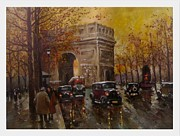 Rainy Street Painting Framed Prints - The Arch Of Triumph Framed Print by Milena Gargovitza