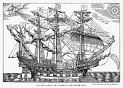 Sailing Ship Drawings Framed Prints - The Ark Raleigh the Flagship of the English Fleet from Leisure Hour Framed Print by English School