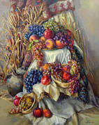 Still-life With Pomegranates Prints - The Armenian still life with a grapes and pomegranates Print by Meruzhan Khachatryan