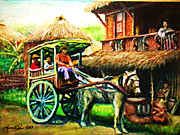 Nipa House Paintings - The Arrival by Joemarie  Chua