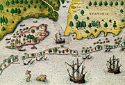 Fun Map Prints - The Arrival of the English in Virginia Print by Theodore de Bry