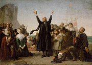 Priest Posters - The Arrival of the Pilgrim Fathers Poster by Antonio Gisbert