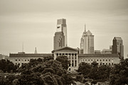Art Museum Prints - The Art Museum from Lemon Hill in Sepia Print by Bill Cannon