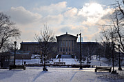 Art Museum Digital Art Prints - The Art Museum in the Snow Print by Bill Cannon