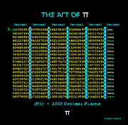Pi Mixed Media - The Art Of PI - 1000 Decimal Places by Louis Boston II