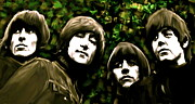Beatles Drawings Metal Prints - The Art of Sound  The Beatles Metal Print by Iconic Images Art Gallery David Pucciarelli