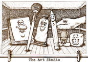 Studio Drawings Prints - The Art Studio Print by Cristophers Dream Artistry