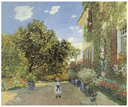 Summer Scene Framed Prints - The Artist House at Argenteuil Framed Print by Claude Monet