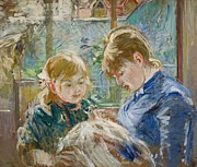 Needlework Prints - The Artists Daughter Print by Berthe Morisot