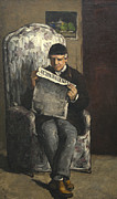 News Prints - The Artists Father Reading L evenement Print by Paul Cezanne