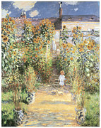 Impressionism Posters - The Artists Garden at Vetheuil Poster by Claude Monet
