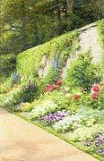 Signed . Nature Paintings - The Artists Garden by Joseph Farquharson
