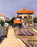 French Home Framed Prints - The Artists House at Yerres Framed Print by Gustave Caillebotte