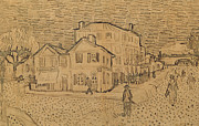 Street Drawings Framed Prints - The Artists House in Arles Framed Print by Vincent Van Gogh