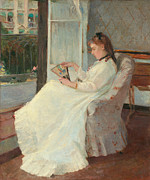 Frills Framed Prints - The Artists Sister at a Window Framed Print by Berthe Morisot