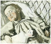Sleeping Mixed Media - The Artists Son Asleep by Claude Monet