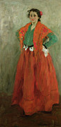 Floor-length Dress Framed Prints - The Artists Wife Dressed as a Spanish Woman Framed Print by Alexej von Jawlensky