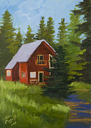 Mountain Cabin Painting Framed Prints - The Arts Cabin Framed Print by Alice Leggett